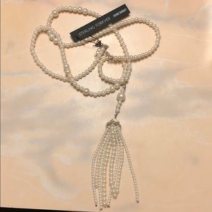 Sterling Forever Long Pearl Necklace